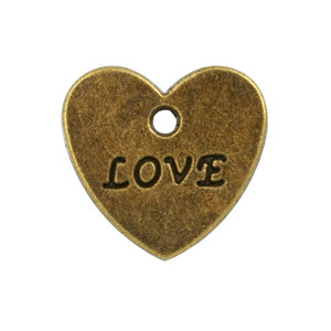 Charms, Love, 16x17mm, Antique Brass-Plated Pewter, 20 pcs/pack (604-672)